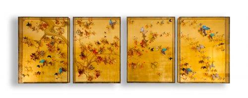Painting-butterflies-gilded panels-artwork